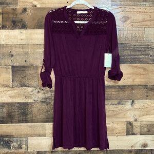 Lush Burgundy Adjustable 3/4 Sleeve Shift Dress